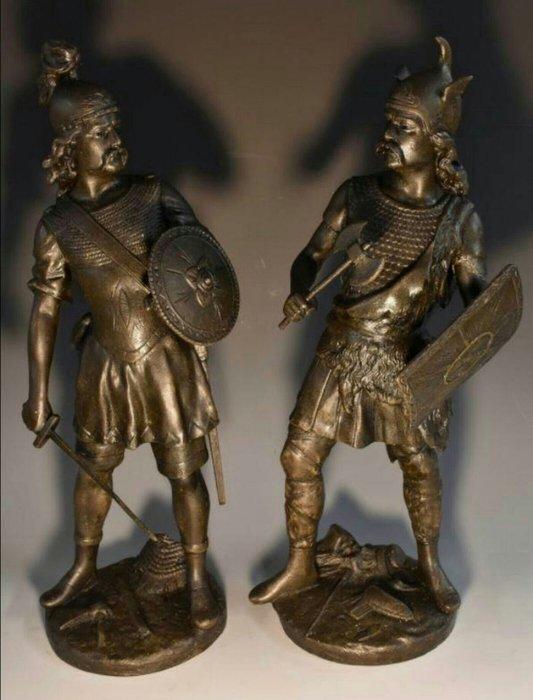 【波賽頓-歐洲古董拍賣】歐洲/西洋古董 法國古董19世紀北歐勇士銅雕 一對高度52cm(已售出)