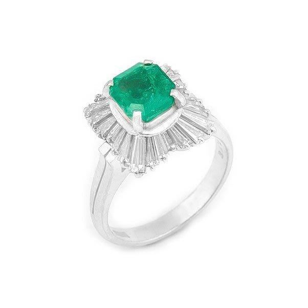 【JHT金宏總珠寶/GIA鑽石專賣】1.37ct天然鑽石祖母綠鑽戒/材質:PT900(JB21-B48)