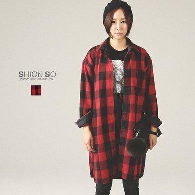 享瘦衣身中大尺碼【B1386】格紋長版口袋襯衫