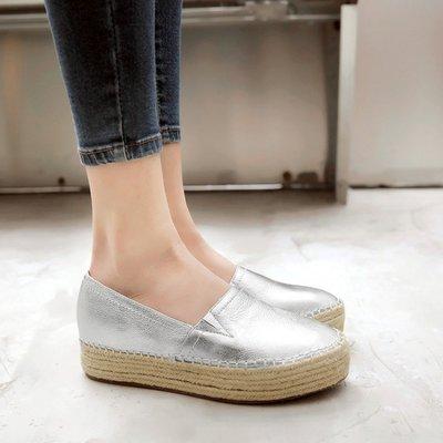 『Alice♥愛麗絲』草編鞋女厚底內增高一腳蹬真皮鞋金色懶人鞋平底銀色休閒漁夫鞋女