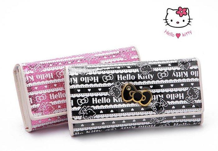 ☆°╮VS流行館╭°☆日本進口保証三麗鷗授權正品◎聖誕節禮物Hello Kitty多夾層長皮夾200元(粉紅/黑色)