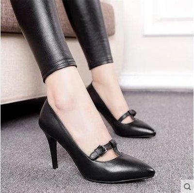 【美达】女鞋春季新款红色高跟鞋婚鞋新娘鞋真皮细跟尖头高跟单鞋皮鞋红色,黑色二色可选34-39码
