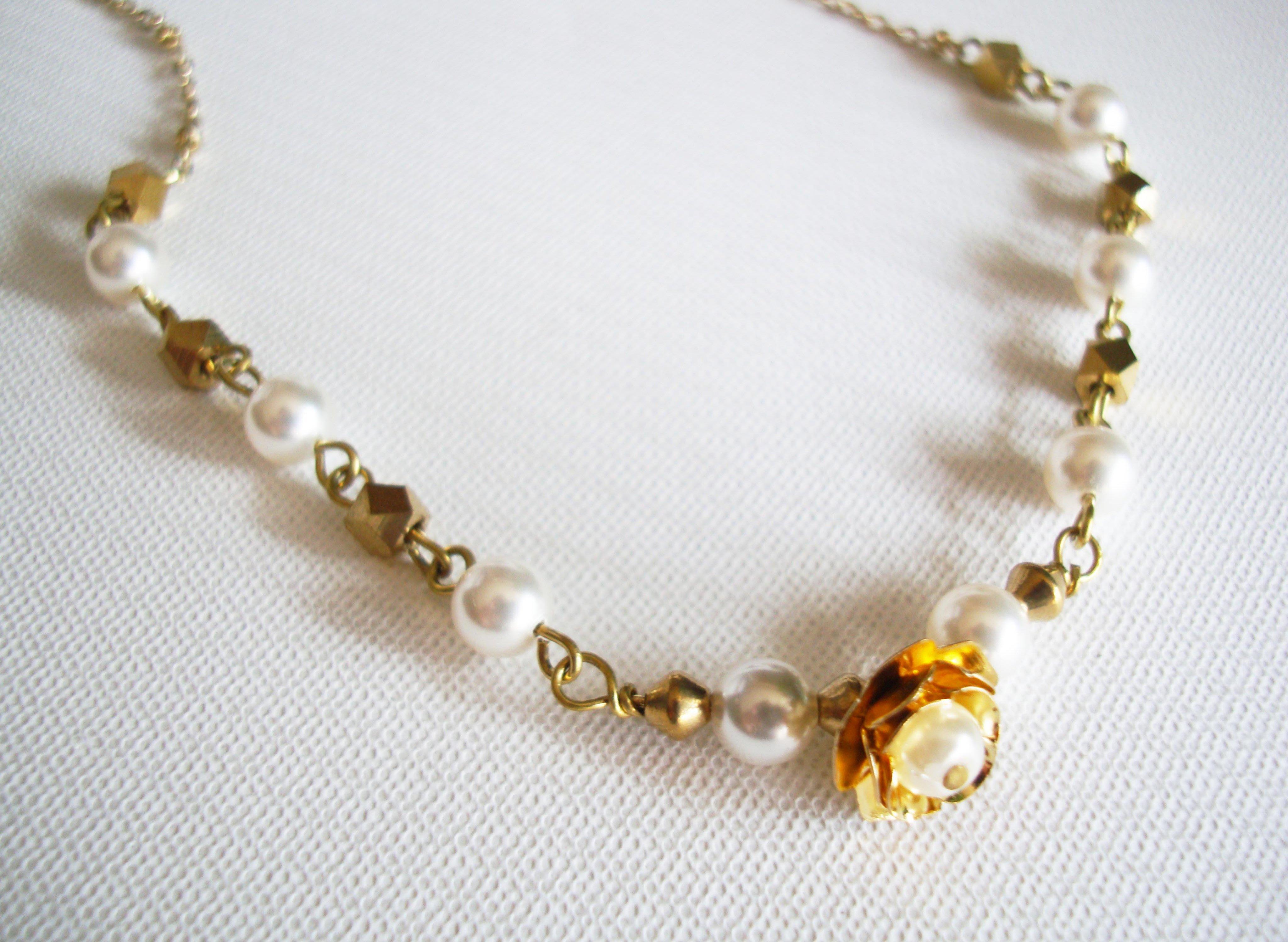 Sophia accessories【Rose】玫瑰珍珠黃銅項鍊 手作&私飾 微復古 輕珠寶 黃銅飾品