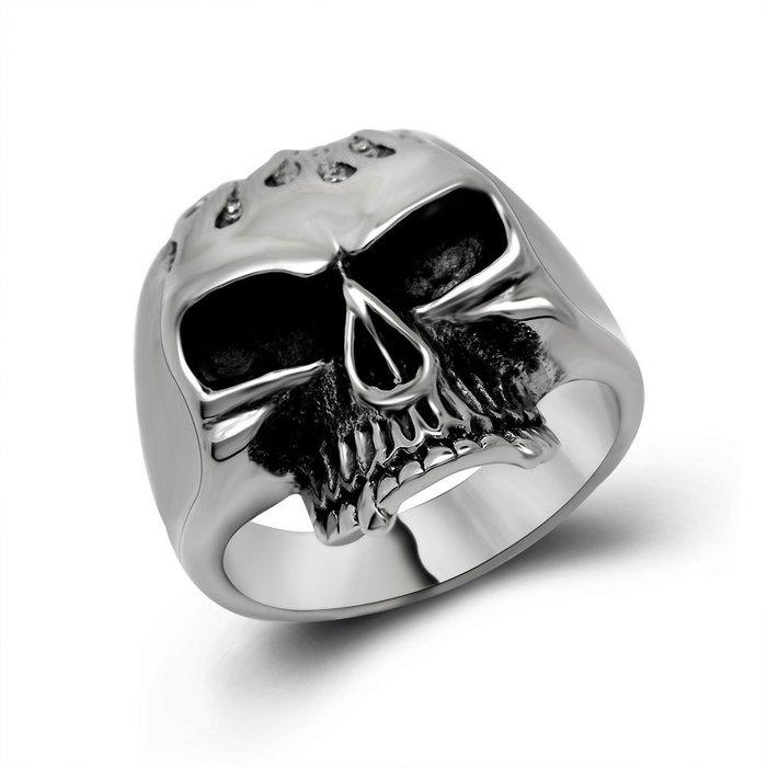 ~兩件 ~朋克風格 非主流超酷鑄造骷髏頭男生鈦鋼戒指指環永不退色SA389