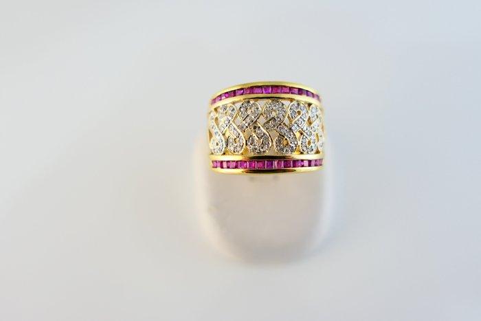 [吉宏精品交流中心]天然紅寶石 天然鑽石 黃K金 造型 戒指
