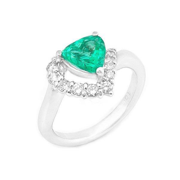 【JHT 金宏總珠寶/GIA鑽石專賣】1.15ct天然祖母綠鑽戒/材質:PT900(E00015)