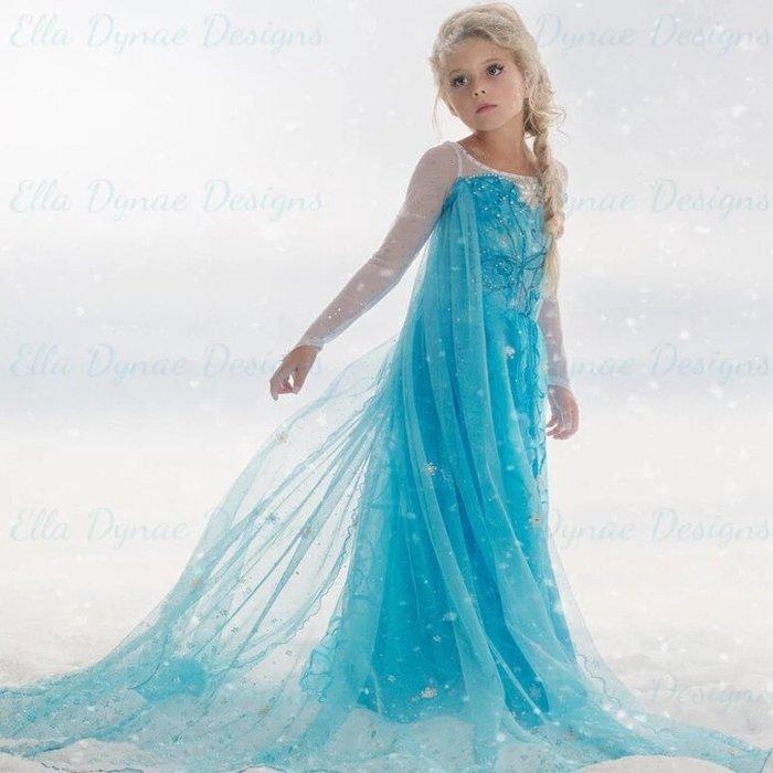 冰雪奇緣現貨愛紗艾莎elsa女童萬聖節服裝冰雪奇緣連身裙禮服公主裙紗披風可拆 伊亞 現貨--崴崴安兒童館