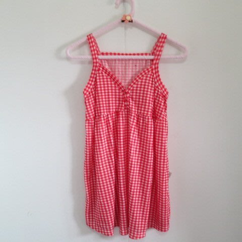BEAR HOUSE  6  格紋圖樣 胸口排釦樣式 細肩帶娃娃裝上衣
