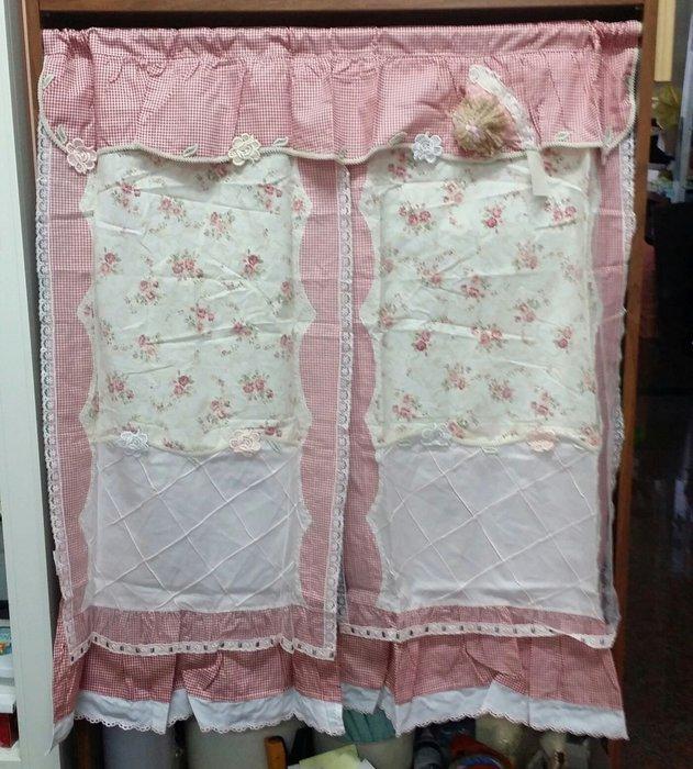 美生活館--全新鄉村風格布品-- 可愛玫瑰女孩  中門簾/裝飾簾/櫃簾 90*100 公分