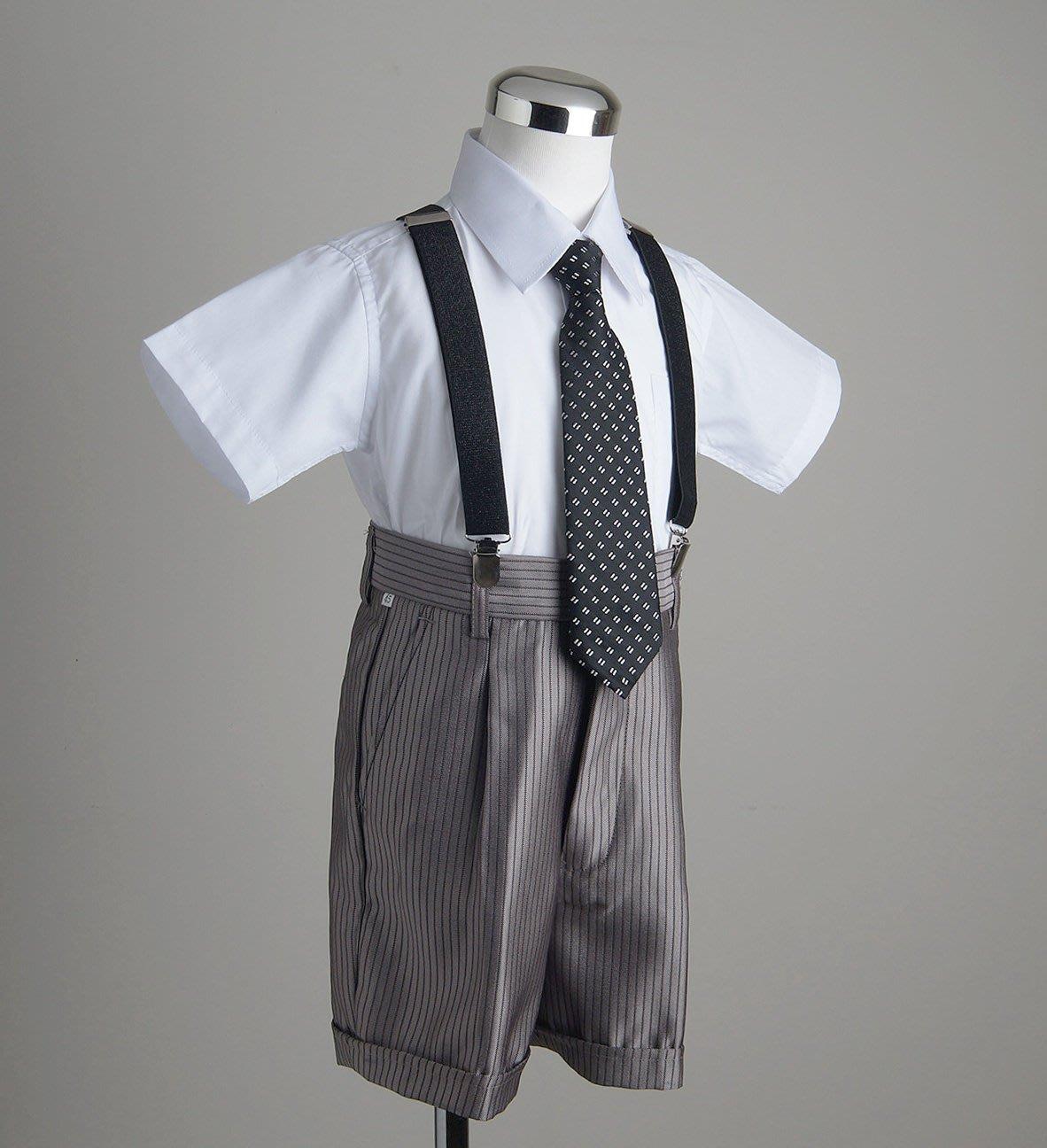 米米世界BWTS03282兒童套裝禮服/西褲.短襯衫.領帶.領結.吊帶五件式/男童服咖啡色西裝褲110-140cm尺碼