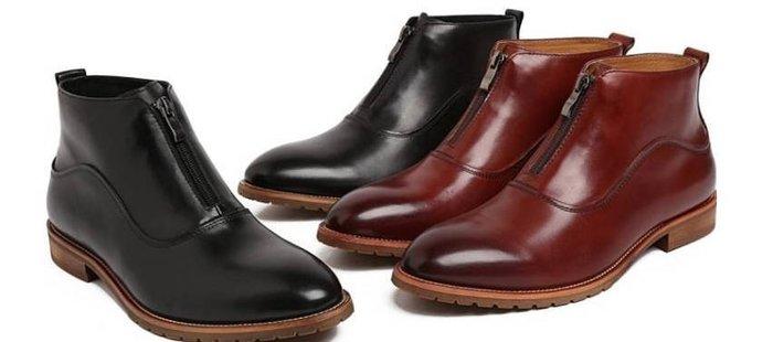 新品 英倫尖頭商務皮靴 頭等牛皮男靴 低筒靴 拉鍊短靴真皮