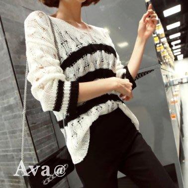 Ava正韓 V領針織條紋百搭上衣   1色 [預購]I725652-0415