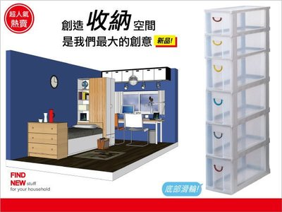 '买2个免运'发现新收纳箱:收纳达人105公分隙缝收纳柜,附轮(F742)。抽屉4大+2小格好用,系统柜/分类柜/置物柜