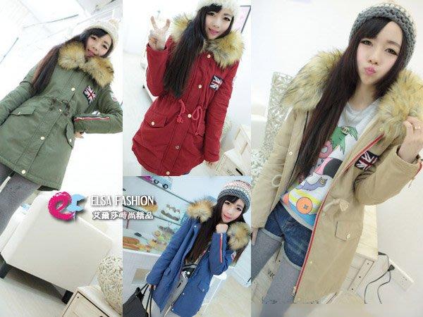 大衣夾克棒球外套棉襖 艾爾莎 街頭貼布工裝刺繡保暖超大毛毛連帽外套【TAS9293】