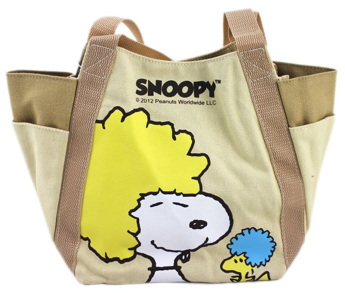 【卡漫迷】  Snoopy 帆布 手提袋 土黃 ㊣版 便當袋 史努比 磁扣 餐袋 手提包