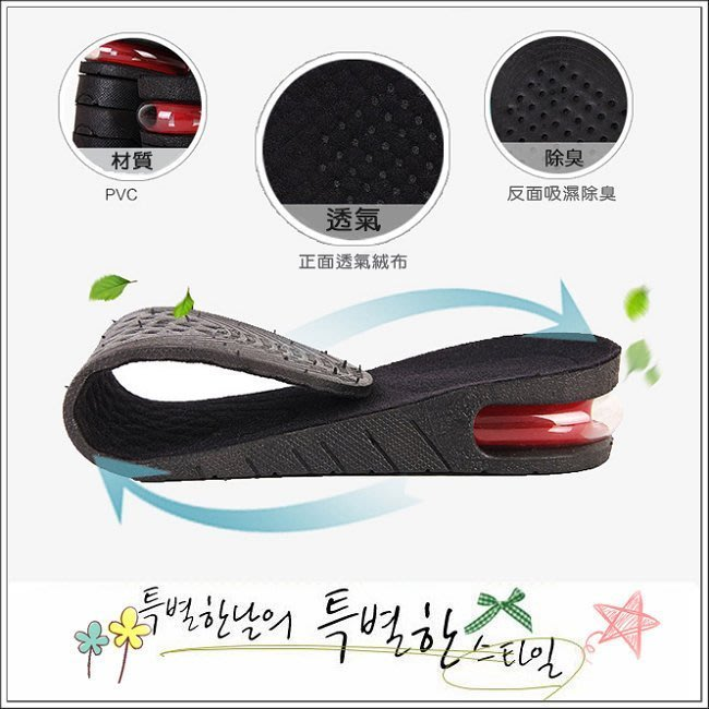 你@魔法屋【CC017】最新款/隱形氣墊增高鞋墊/透氣防臭舒適/單層/增高3CM