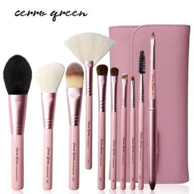 【愛來客 】專利商標品牌Cerro Qreen天然動物毛10支專業化妝刷(粉紅色)