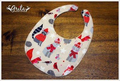 ♥grita's handmade♥純棉手作嬰幼兒圍兜兜/領巾/口水巾/三角巾/彌月禮—冬日動物聚會