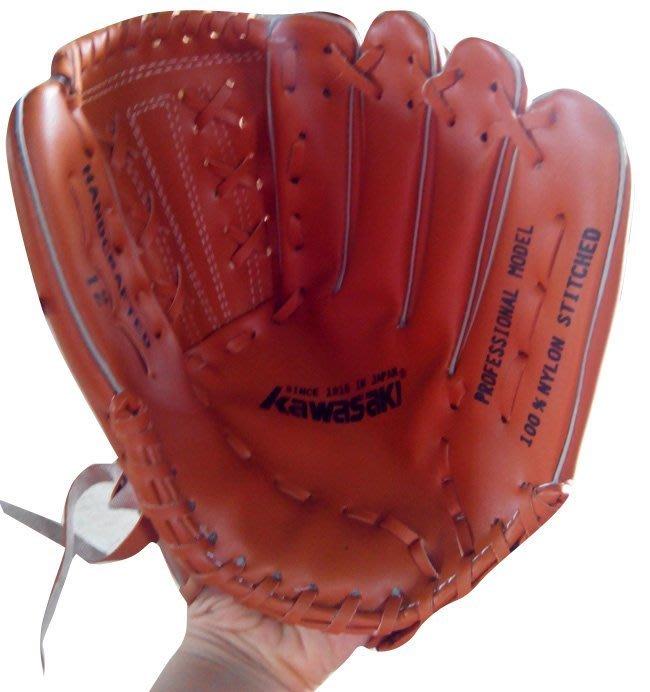 台製+ 開心運動場 Kawasaki 12吋 膠皮棒球手套  (另售 球棒 棒球  籃球 瑜珈墊 )