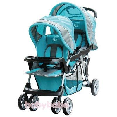 Grace[恩典] [babybabe] B329 歐風雙人嬰兒手推車**藍**