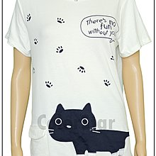 ColorStar  可愛 貓咪 白色 棉 上衣,年輕女孩與愛貓族的穿搭好選擇,喜歡女孩