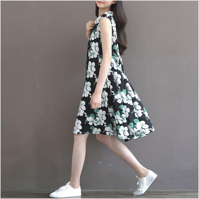 【現貨R】2017夏裝寬鬆顯瘦大花無袖大碼連衣裙
