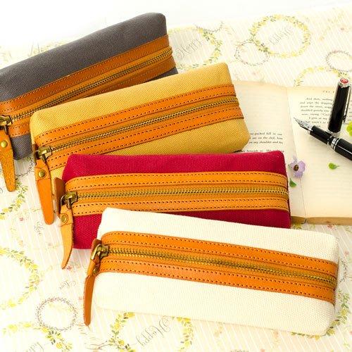 筆袋【手感的秀】真皮帆布文青素樸風鉛筆袋(4色)