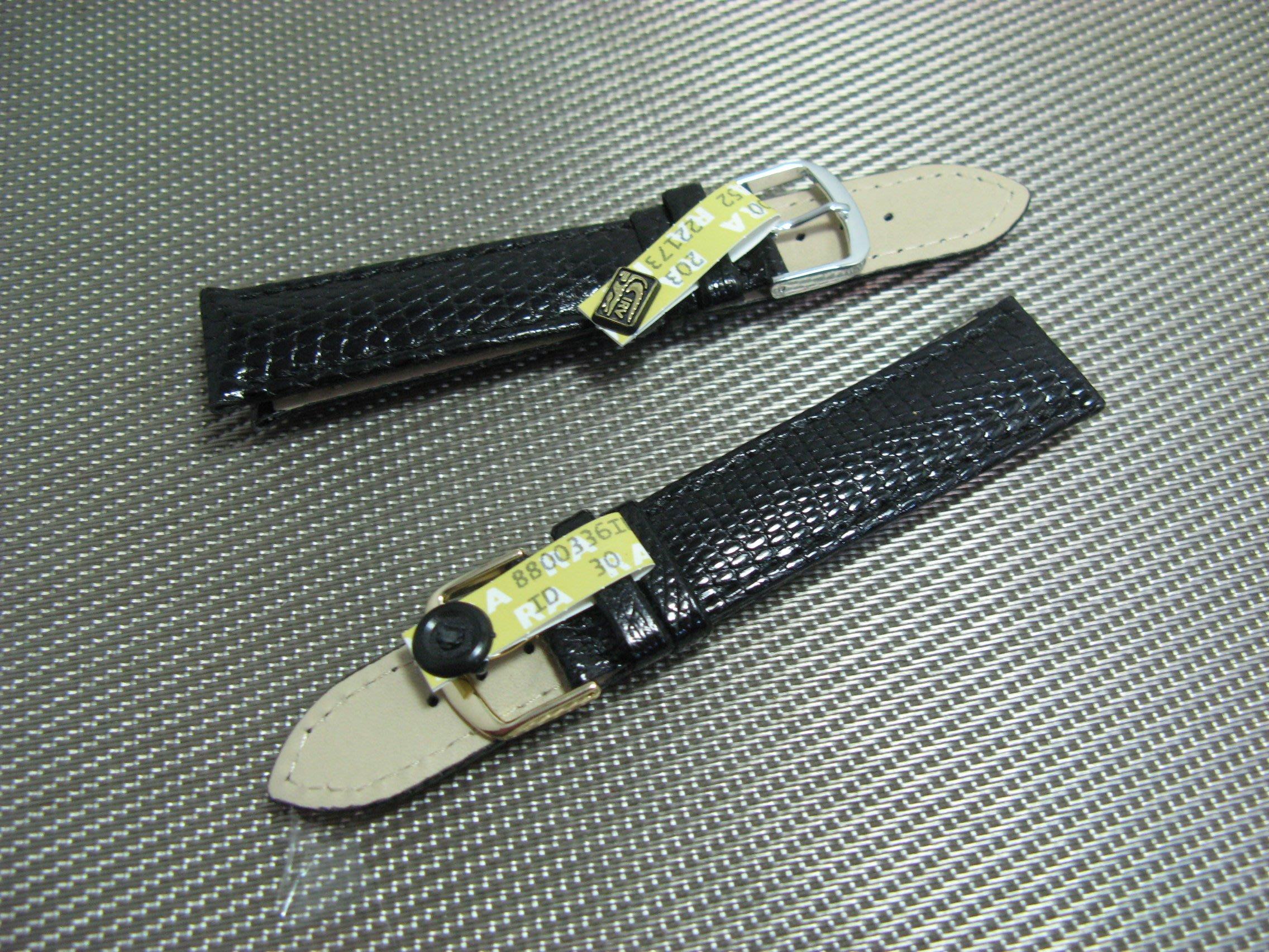 德國老廠EULIT真蜥蜴黑色亮皮高級皮腕帶20x18 mm【神梭鐘錶】