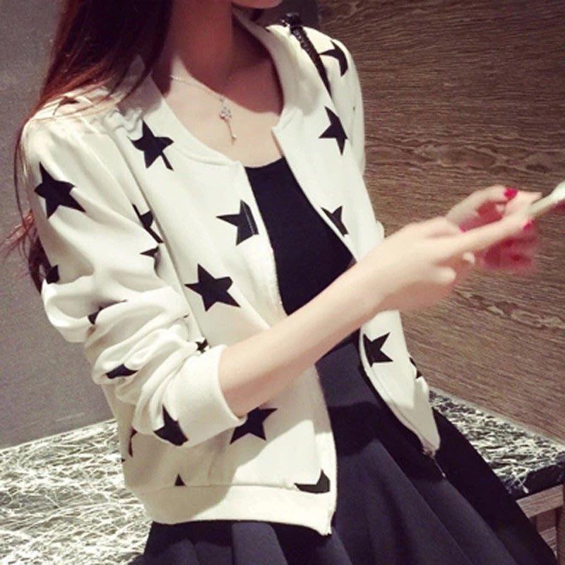Zoe's SeCreT休閒百搭薄款星星圖案短外套 小外套 女外套 防曬外套 短版 上衣 女生衣著 大尺碼 外套