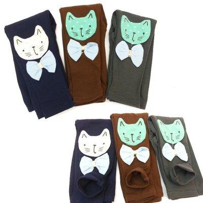 【班比納精品童裝】貓咪領結內搭褲-藍【BN140924011】