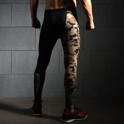 运动压缩裤男跑步长裤弹力健身裤篮球训练速干裤迷彩 现货--马甲线