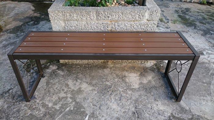 [兄弟牌戶外休閒傢俱]無背雙人塑木長椅L120*W34*H45可固定地上,門口騎樓公園陽台,堅固耐用。