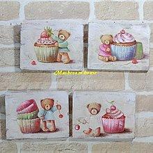 點點蘑菇屋~無框畫~鄉村風可愛蛋糕小熊木板畫 四款入  杯子 櫻桃 草莓 壁掛畫 壁飾 掛