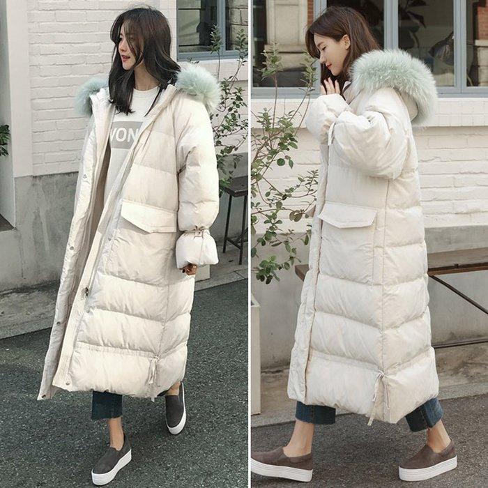 【  EDTG   】S~XL柔軟彩色毛領『內膽羽絨棉90%』!羽絨棉外套大衣黑色/米白色