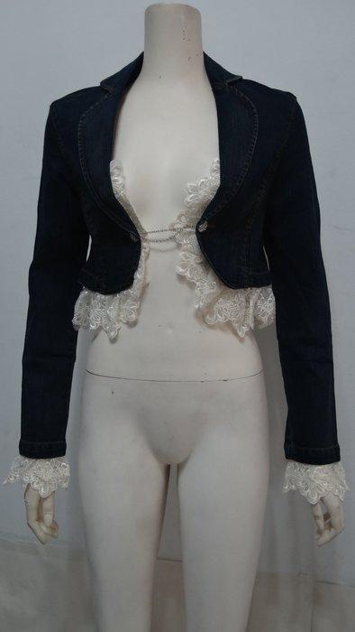 {小芬ㄉ私房舖}A8250全新Stockton藍色+可拆式蕾絲彈性長袖短腰牛仔外套(S號.胸35吋
