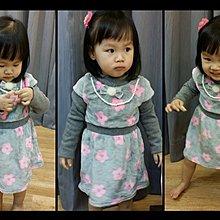 女童 套裝 洋裝 連身裙 假二件灰色小花洋裝 附珍珠項鍊  :5~15號 ~~lovely