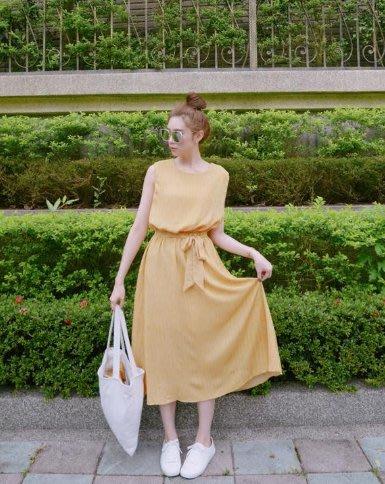 無袖縮腰直條紋長洋裝 heartbeat荷比 - 芥末黃