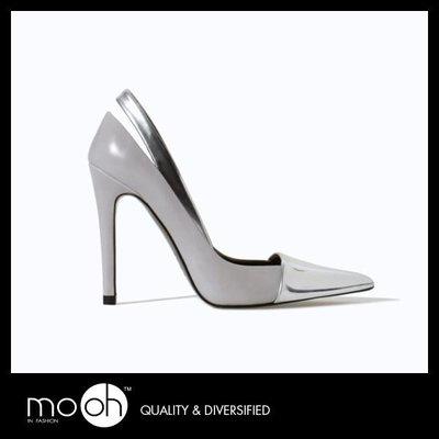 浅口高跟鞋 / 西班牙 金属色 拼接 尖头 细跟 mo.oh (欧美鞋款)