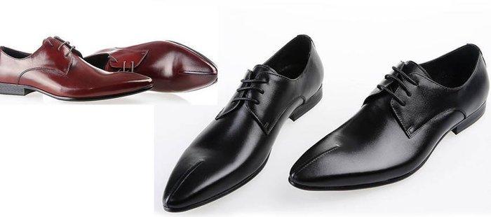 英倫男士頭等牛皮正裝皮鞋男 尖頭系帶商務皮鞋 時尚車縫線w