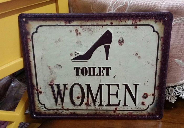 美生活館--- 全新 鄉村 工業 LOFT 風格 法國海報 鐵板畫 TOILET 男廁 女廁 掛飾 餐廳 民宿 店面-女