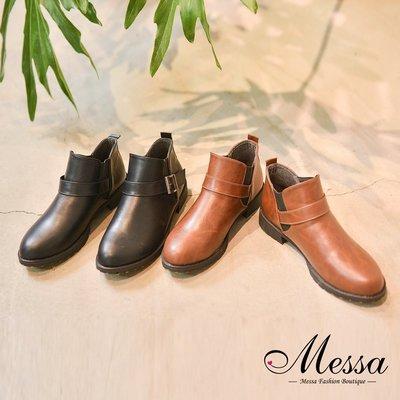 短靴-Messa米莎 時尚俐落扣環繫帶低跟短靴-二色 AO699-1