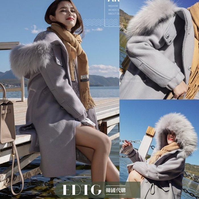 【  EDTG  】推薦!NEW黃金比例小個子羊毛呢大毛領連帽外套大衣!預購