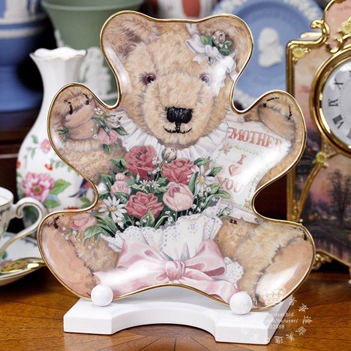 【吉事達】英國 Franklin Mint 限量經典金彩泰迪熊限量珍藏瓷盤系列