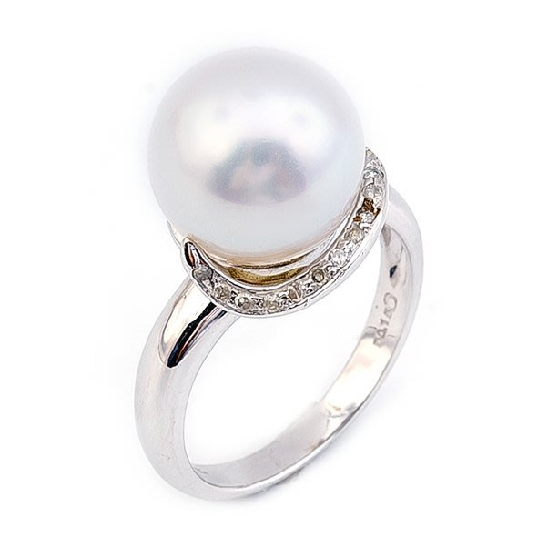 【JHT金宏總珠寶/GIA鑽石專賣】10.8mm天然珍珠鑽戒/材質:18K(PP00028)