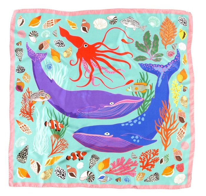 義大利製海底世界絲巾 方巾 動物絲巾
