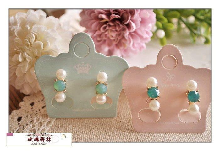 玫瑰森林-- ☆°* 嚴選精品~ 氣質款 綠色調水鑽 &珍珠 耳夾式無耳洞耳環