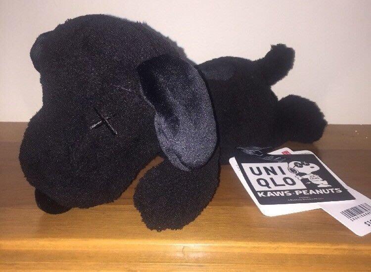 { 自以為公仔 } UNIQLO x KAWS SNOOPY PEANUTS 史努比 聯名 毛絨 黑色 玩偶 小隻 S號