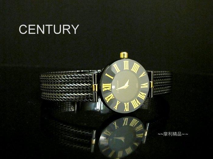 【摩利精品】century世紀水晶石英黑綱帶女錶 *真品* 低價特賣