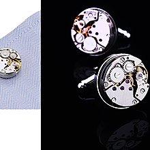 ~~╮玫瑰~誌~裸框精鋼陀飛輪機芯機械手錶 盒裝 男士襯衣袖扣法式襯衫袖扣 袖釘 ,1組售
