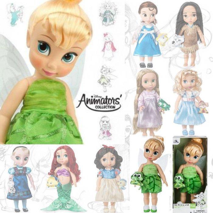 現貨【迪士尼 Disney】全新美國正品 手繪Q版娃娃 奇妙仙子 長髮公主 愛瑞兒 艾莎 仙杜瑞拉 貝兒【高約40公分】